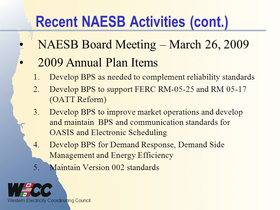 Recent NAESB Activities (cont.)