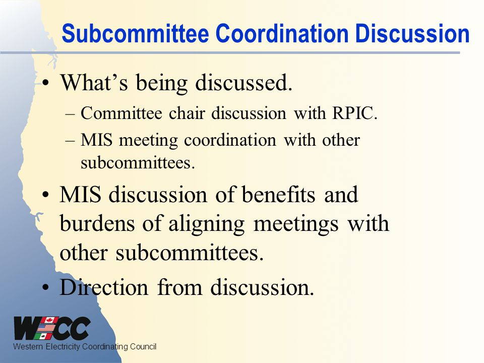 Subcommittee Coordination Discussion