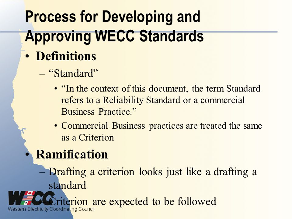 Process for Developing and Approving WECC Standards
