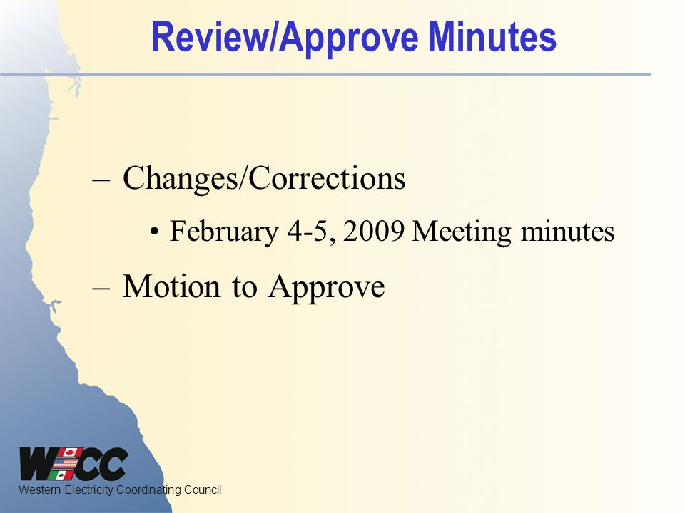 Review/Approve Minutes