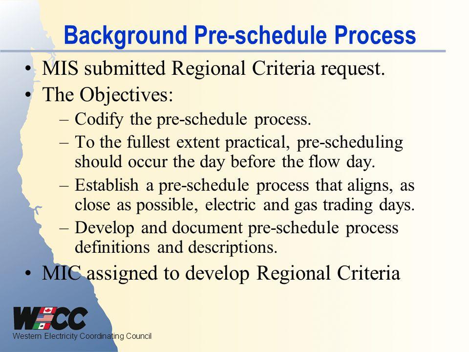 Background Pre-schedule Process