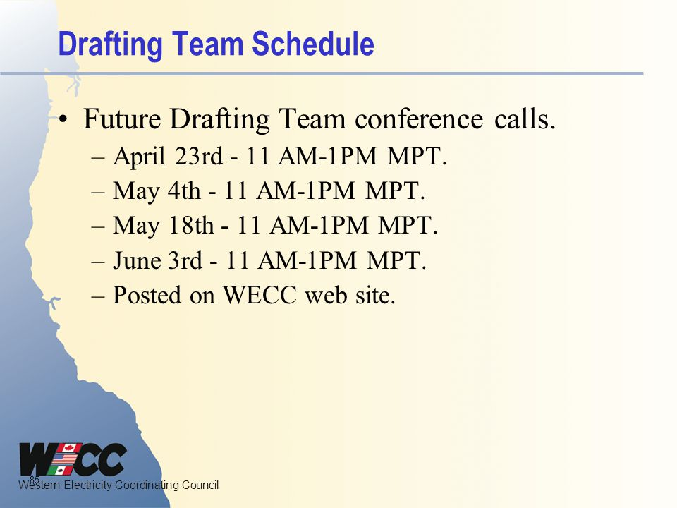 Drafting Team Schedule