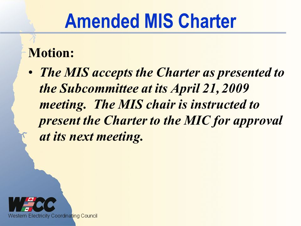 Amended MIS Charter Motion: