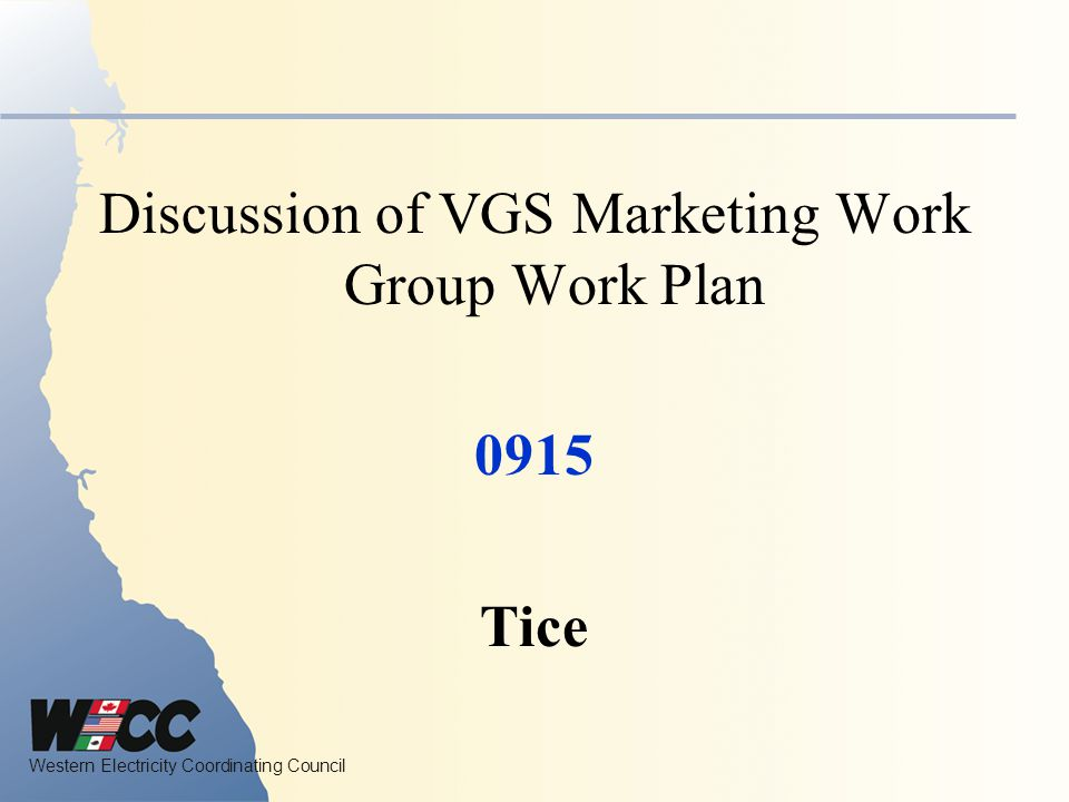 Discussion of VGS Marketing Work Group Work Plan