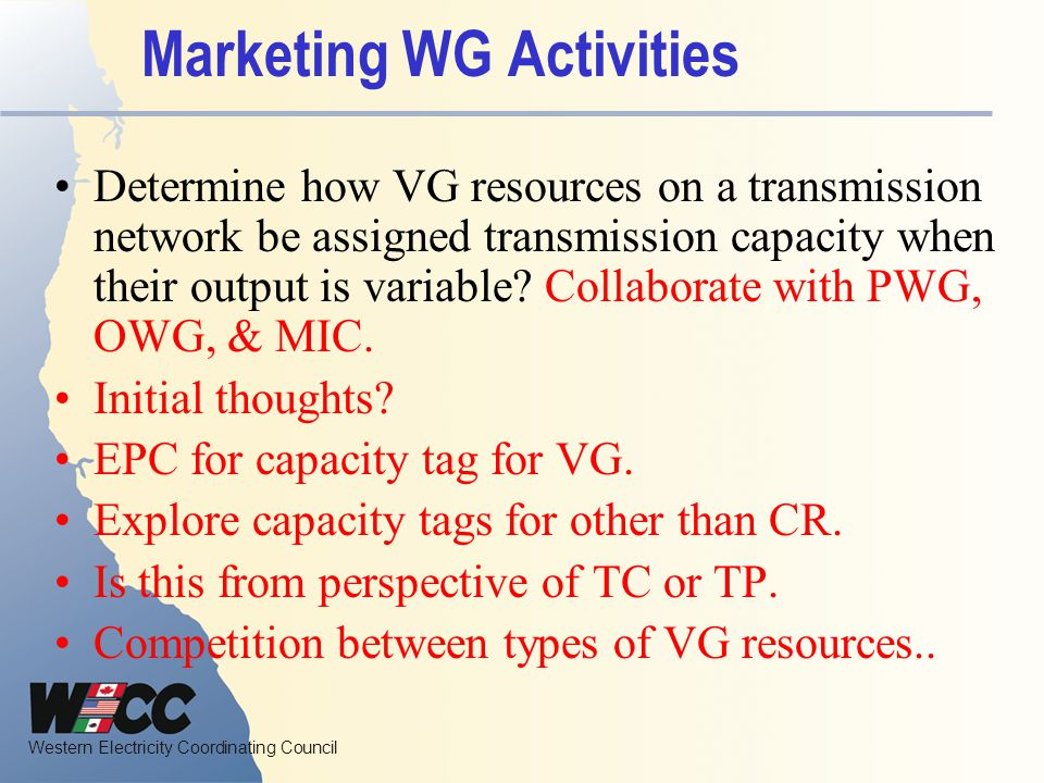 Marketing WG Activities