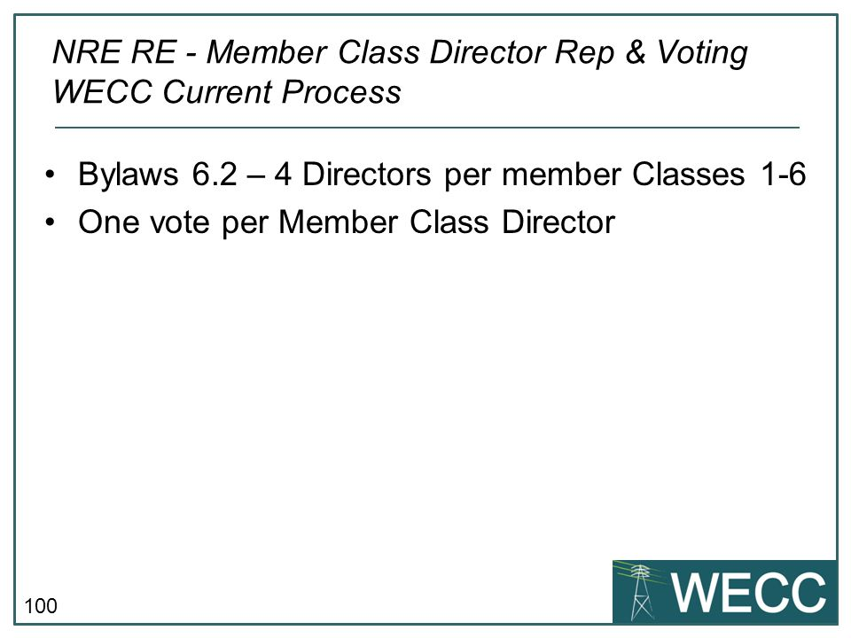 NRE RE - Member Class Director Rep & Voting WECC Current Process