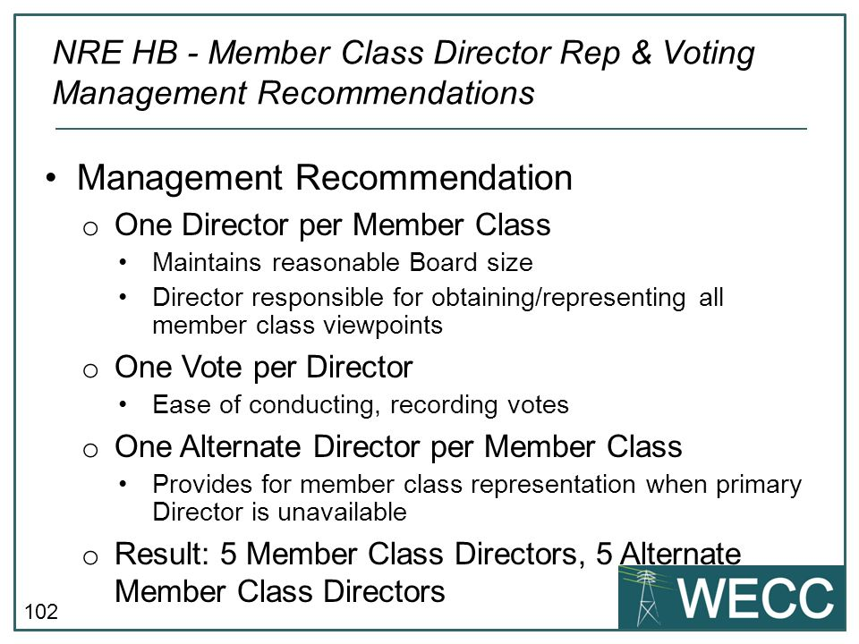NRE HB - Member Class Director Rep & Voting Management Recommendations