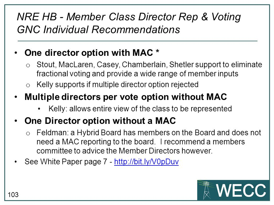 NRE HB - Member Class Director Rep & Voting GNC Individual Recommendations