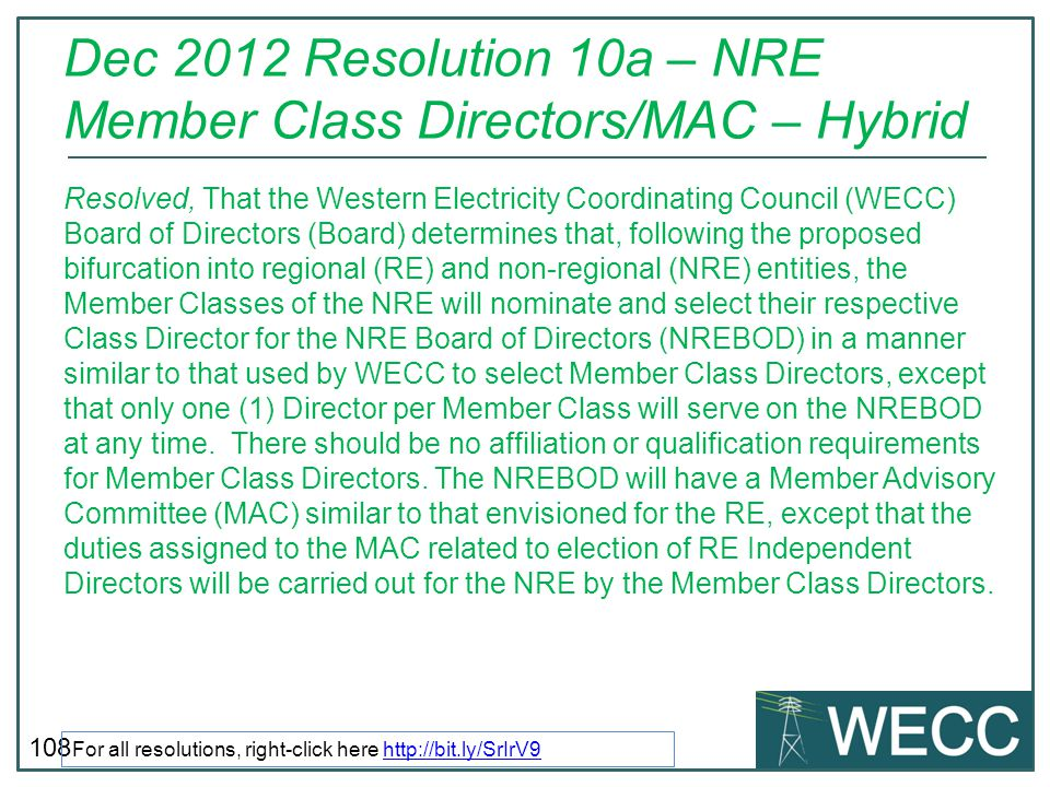 Dec 2012 Resolution 10a – NRE Member Class Directors/MAC – Hybrid