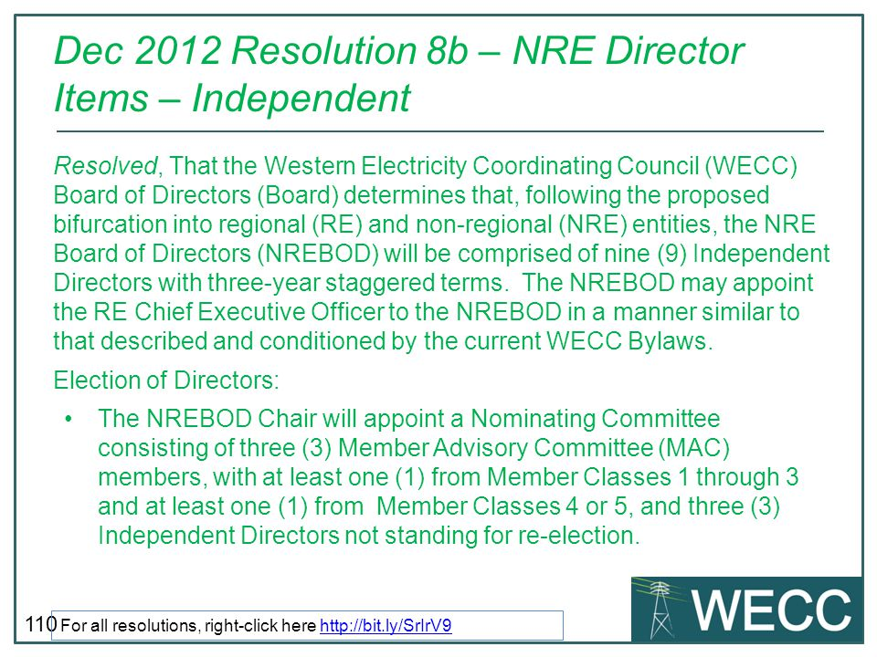 Dec 2012 Resolution 8b – NRE Director Items – Independent