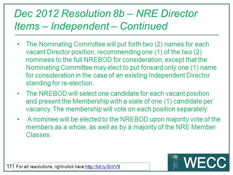 Dec 2012 Resolution 8b – NRE Director Items – Independent – Continued