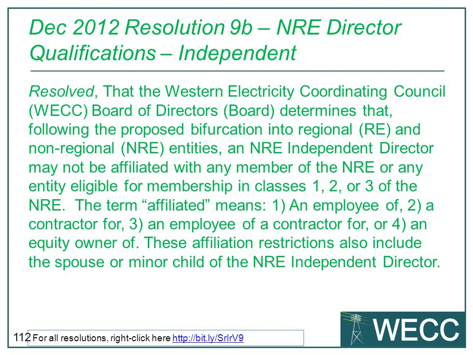 Dec 2012 Resolution 9b – NRE Director Qualifications – Independent