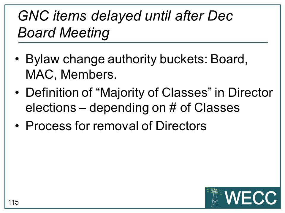GNC items delayed until after Dec Board Meeting