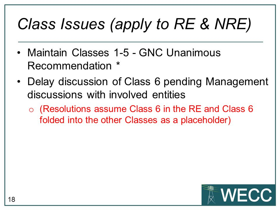 Class Issues (apply to RE & NRE)