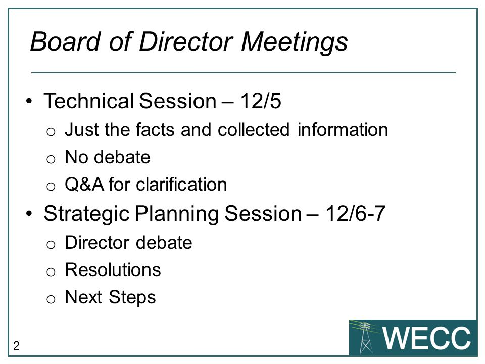 Board of Director Meetings