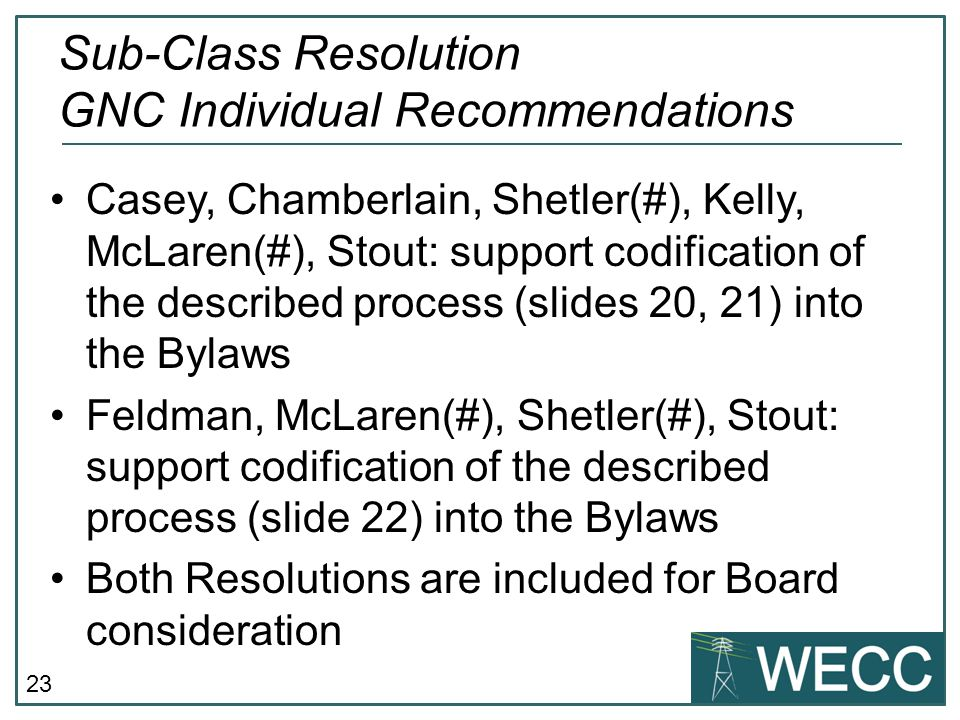 Sub-Class Resolution GNC Individual Recommendations