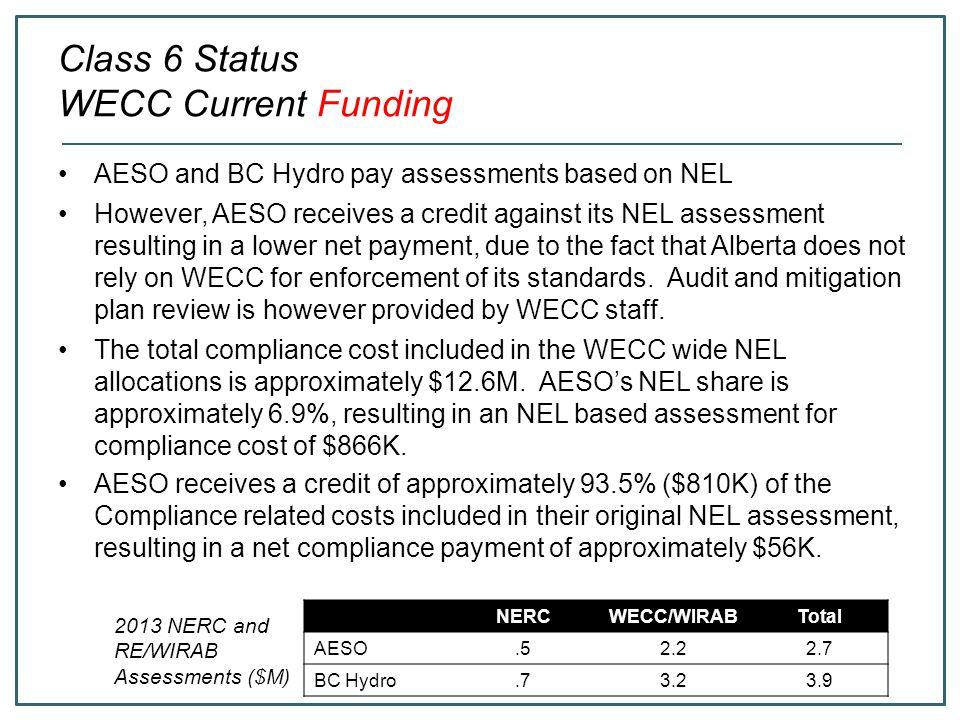 Class 6 Status WECC Current Funding
