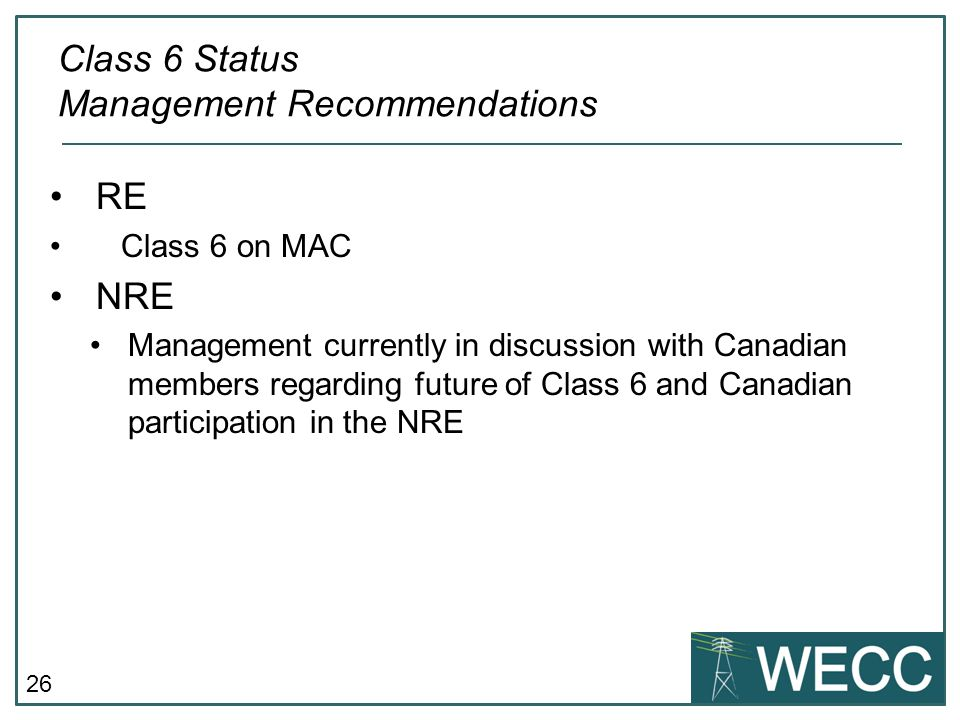 Class 6 Status Management Recommendations