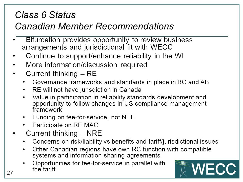 Class 6 Status Canadian Member Recommendations