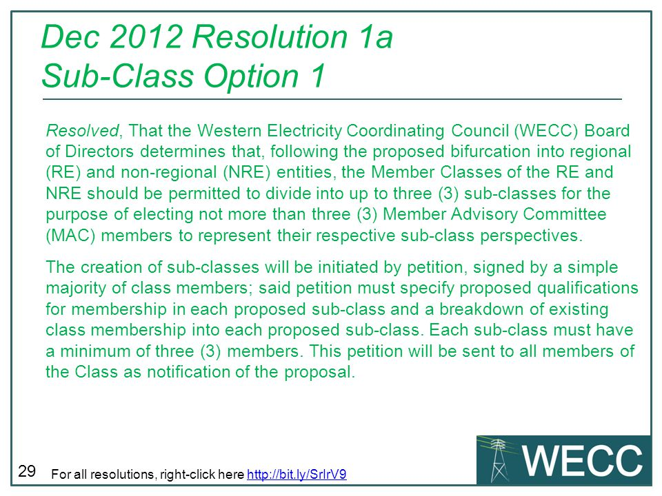 Dec 2012 Resolution 1a Sub-Class Option 1