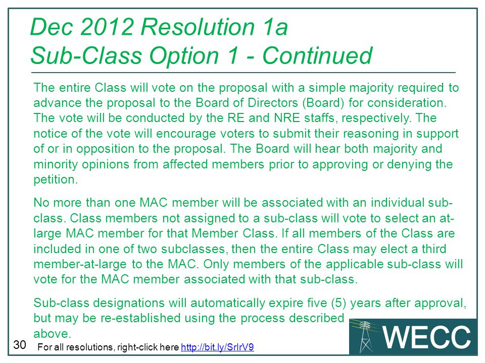 Dec 2012 Resolution 1a Sub-Class Option 1 - Continued