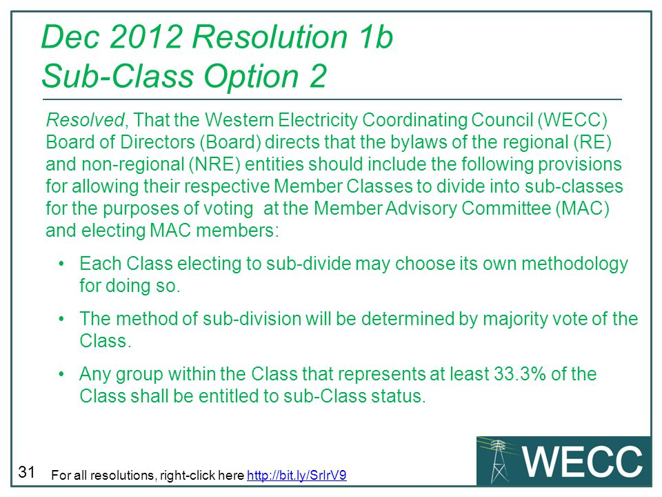 Dec 2012 Resolution 1b Sub-Class Option 2