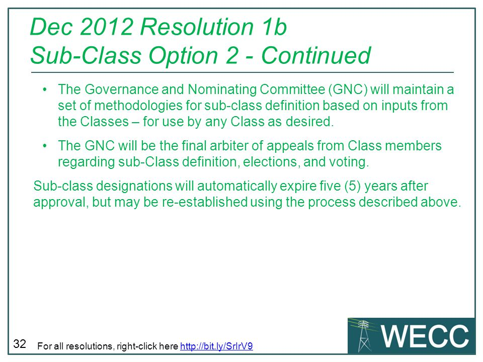 Dec 2012 Resolution 1b Sub-Class Option 2 - Continued