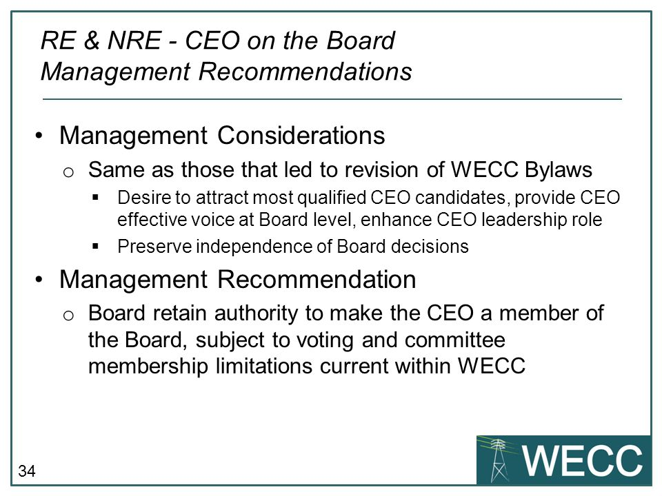 RE & NRE - CEO on the Board Management Recommendations