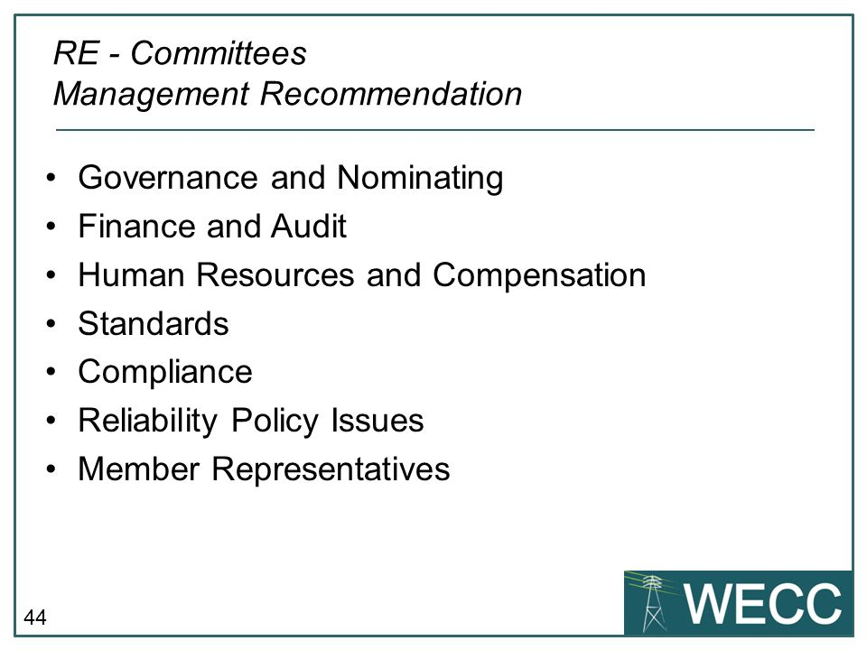 RE - Committees Management Recommendation