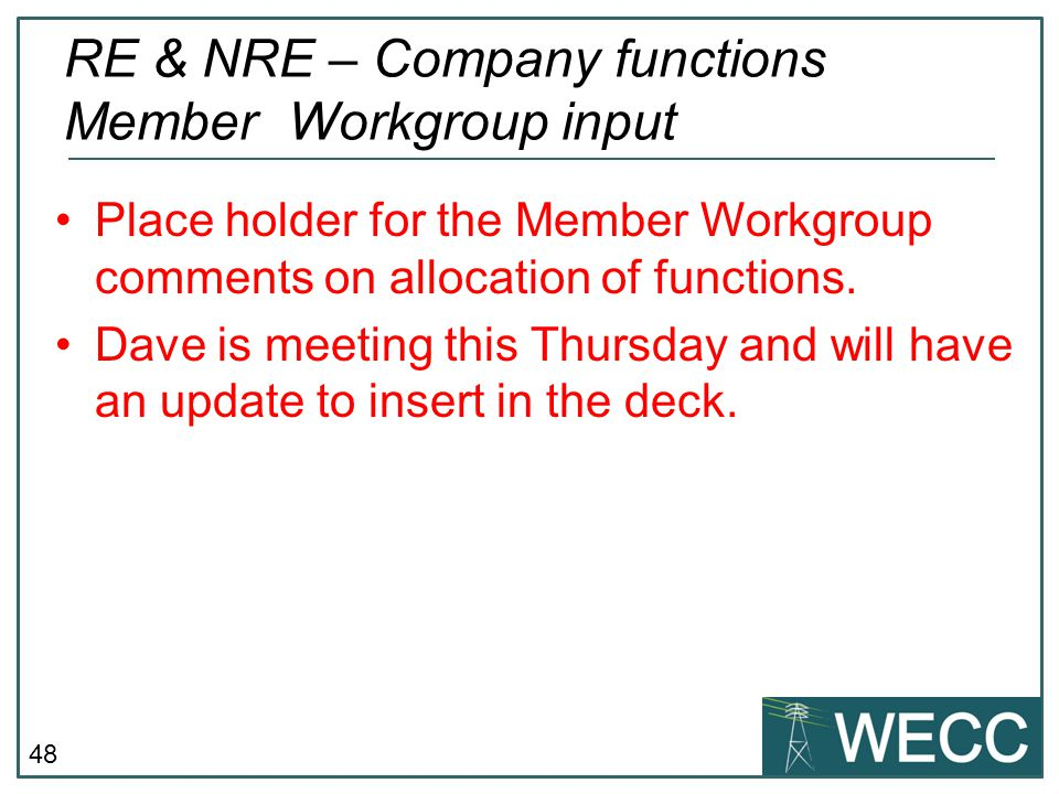 RE & NRE – Company functions Member Workgroup input