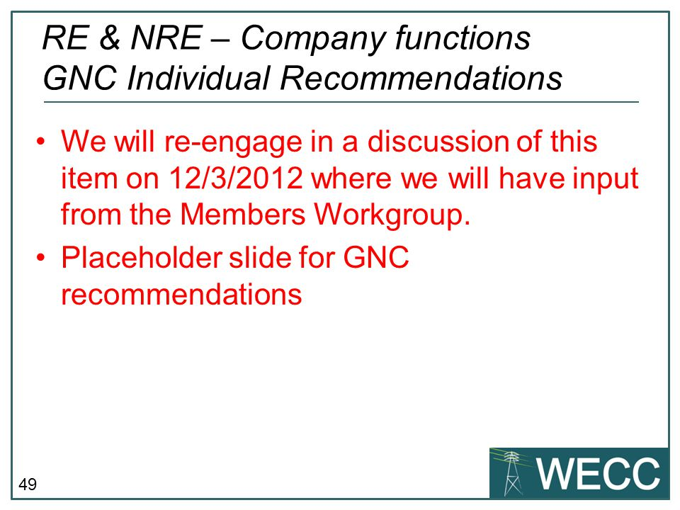 RE & NRE – Company functions GNC Individual Recommendations
