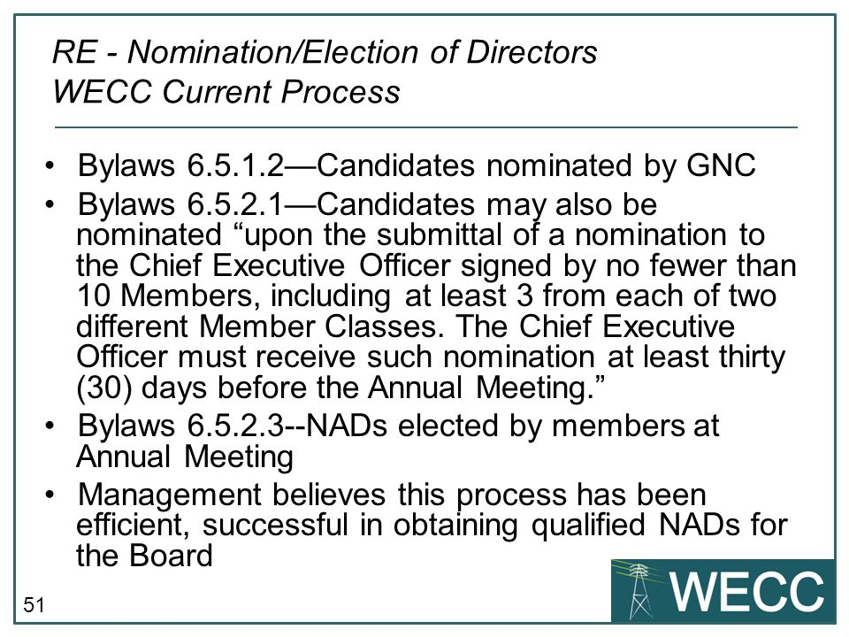 RE - Nomination/Election of Directors WECC Current Process