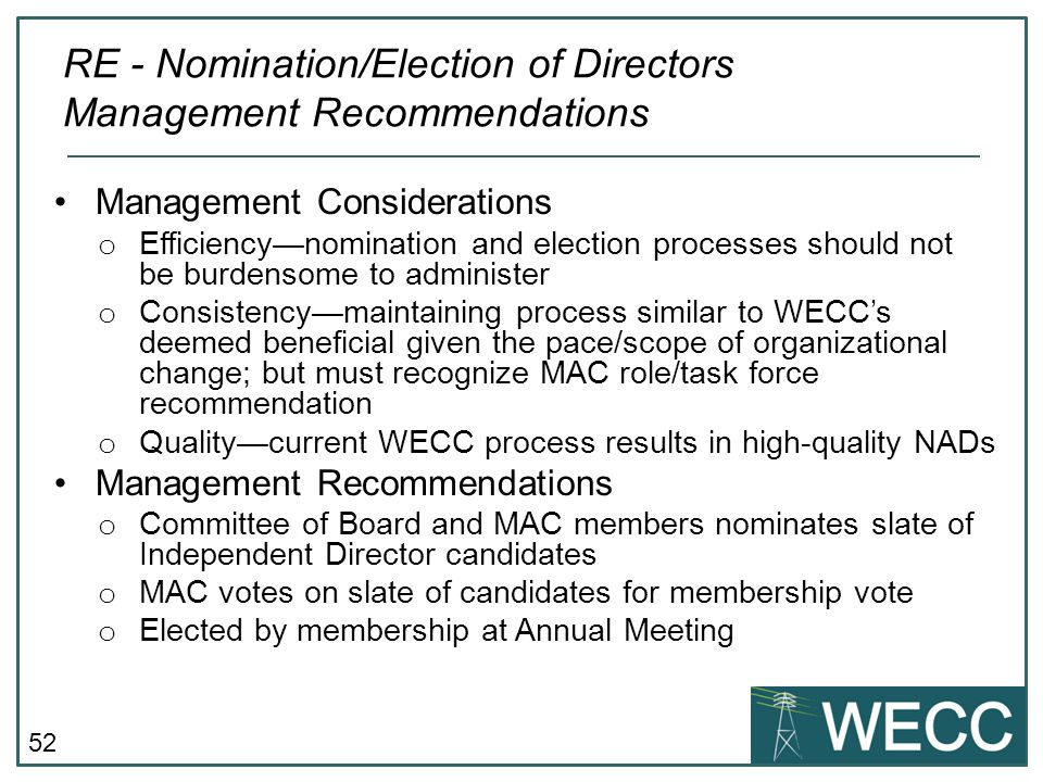 RE - Nomination/Election of Directors Management Recommendations