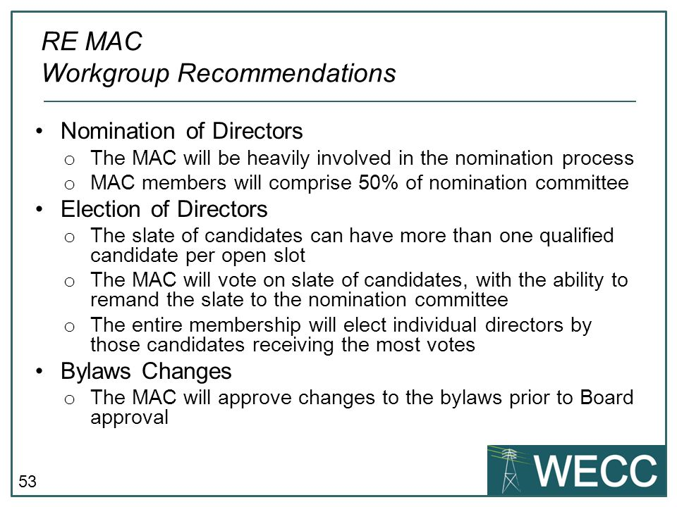 RE MAC Workgroup Recommendations