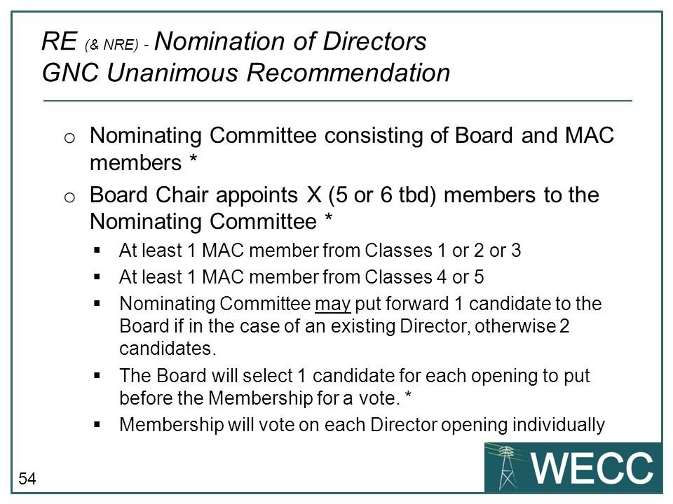 RE (& NRE) - Nomination of Directors GNC Unanimous Recommendation