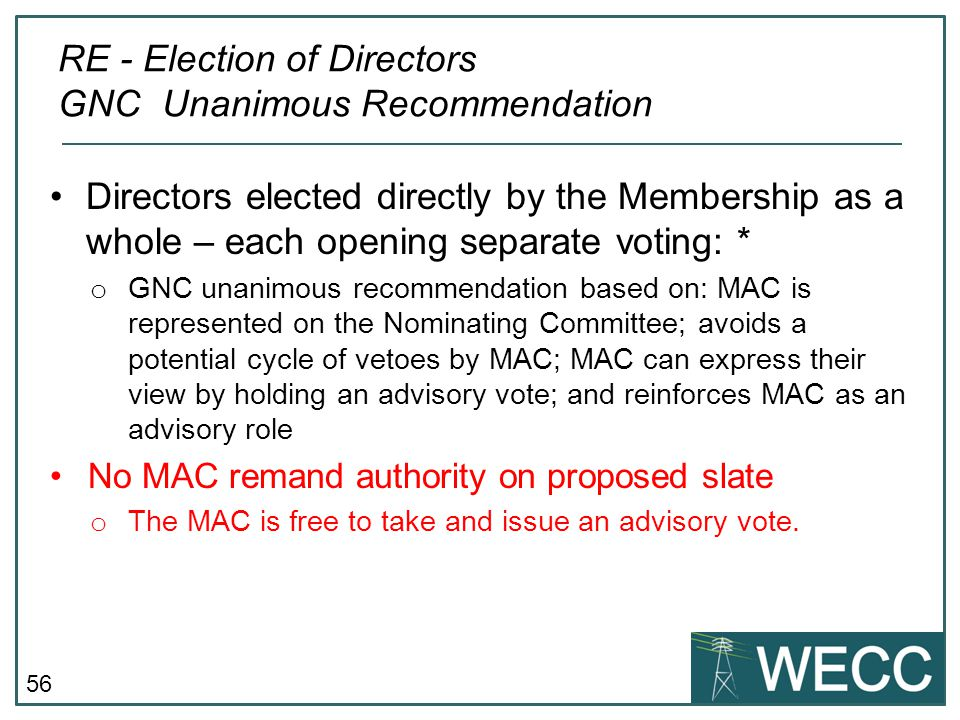 RE - Election of Directors GNC Unanimous Recommendation