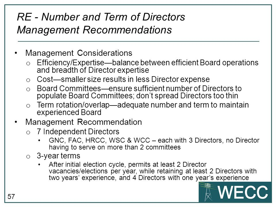 RE - Number and Term of Directors Management Recommendations