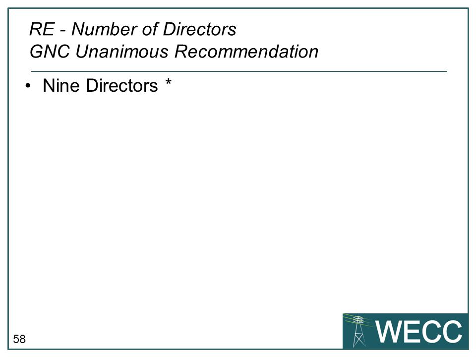 RE - Number of Directors GNC Unanimous Recommendation