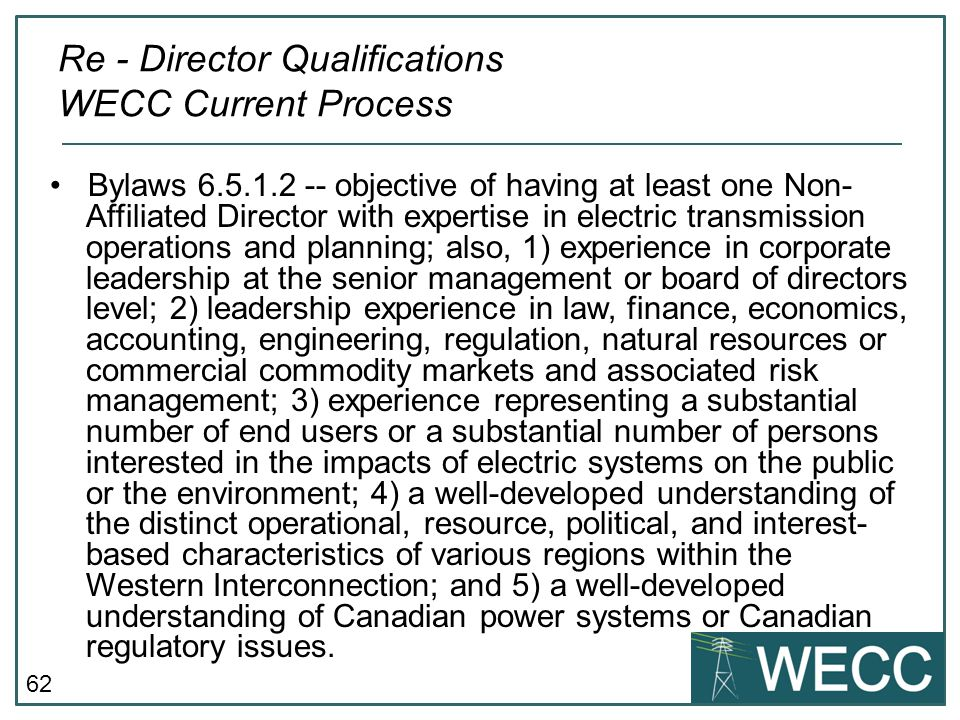 Re - Director Qualifications WECC Current Process