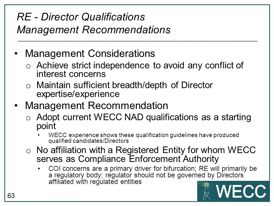 RE - Director Qualifications Management Recommendations