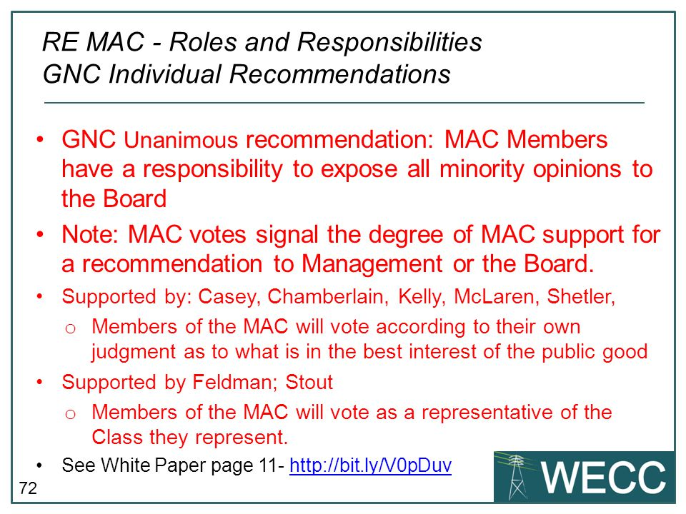 RE MAC - Roles and Responsibilities GNC Individual Recommendations