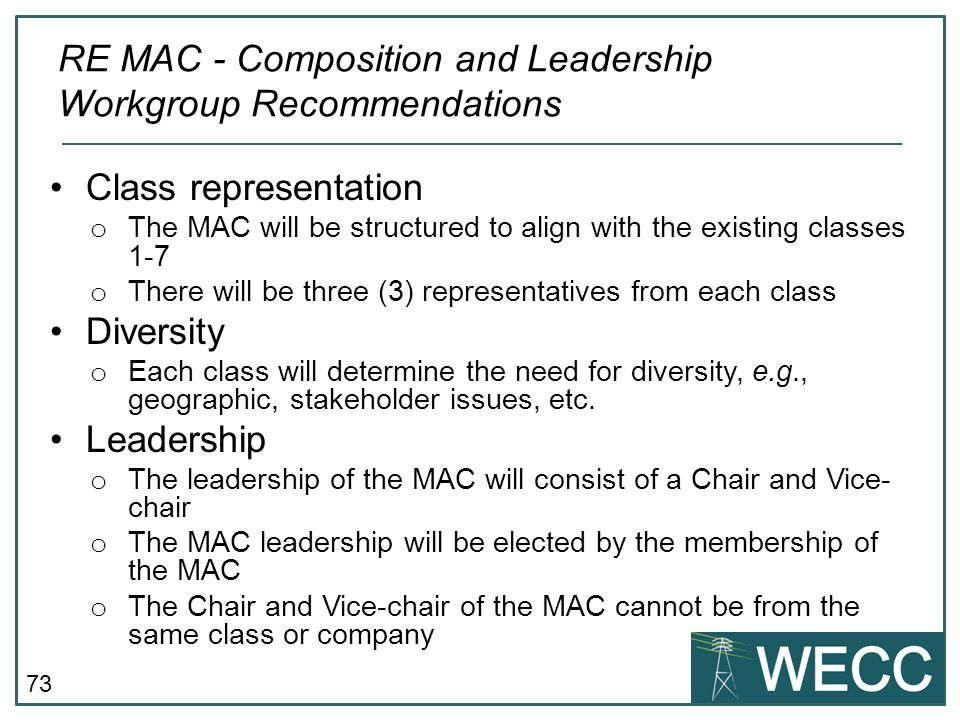 RE MAC - Composition and Leadership Workgroup Recommendations