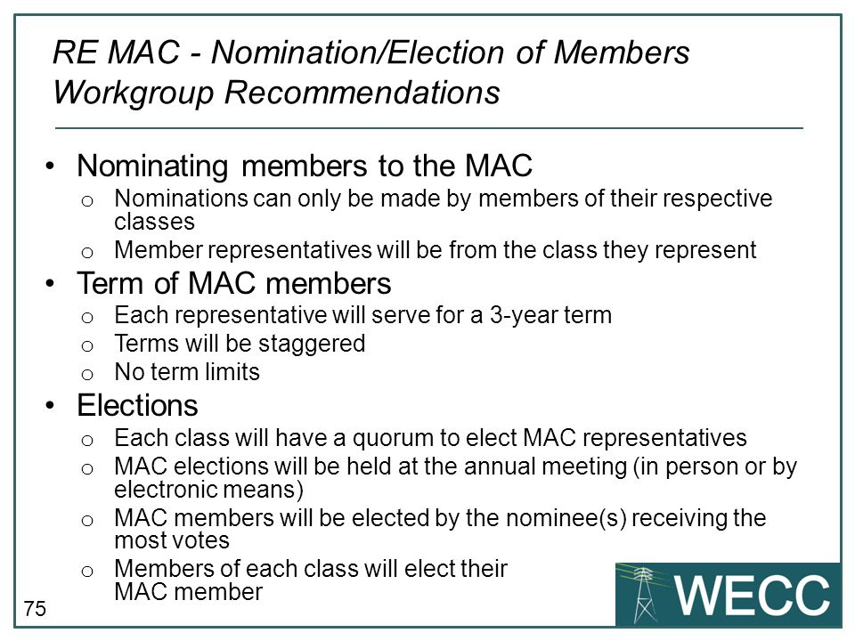 RE MAC - Nomination/Election of Members Workgroup Recommendations