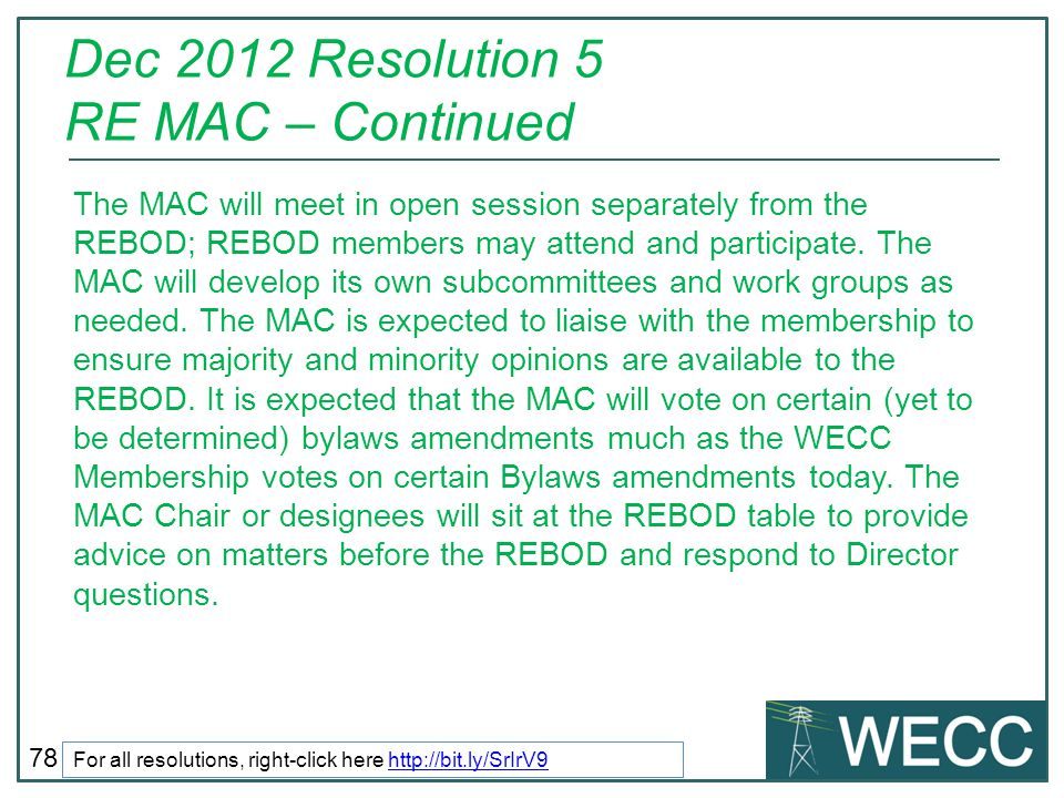 Dec 2012 Resolution 5 RE MAC – Continued