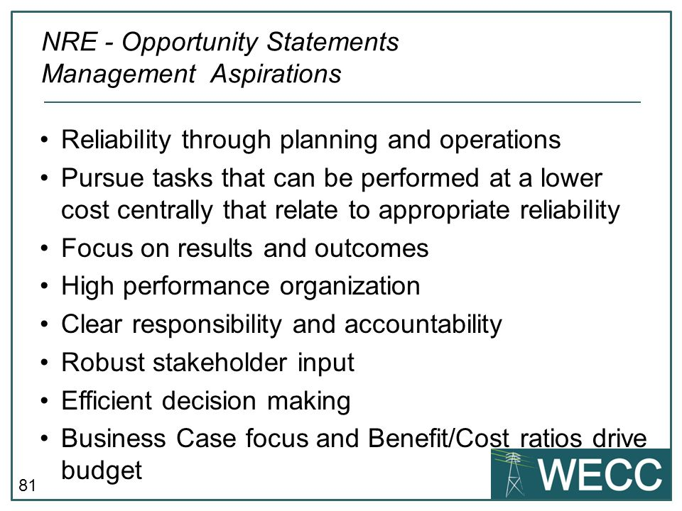 NRE - Opportunity Statements Management Aspirations