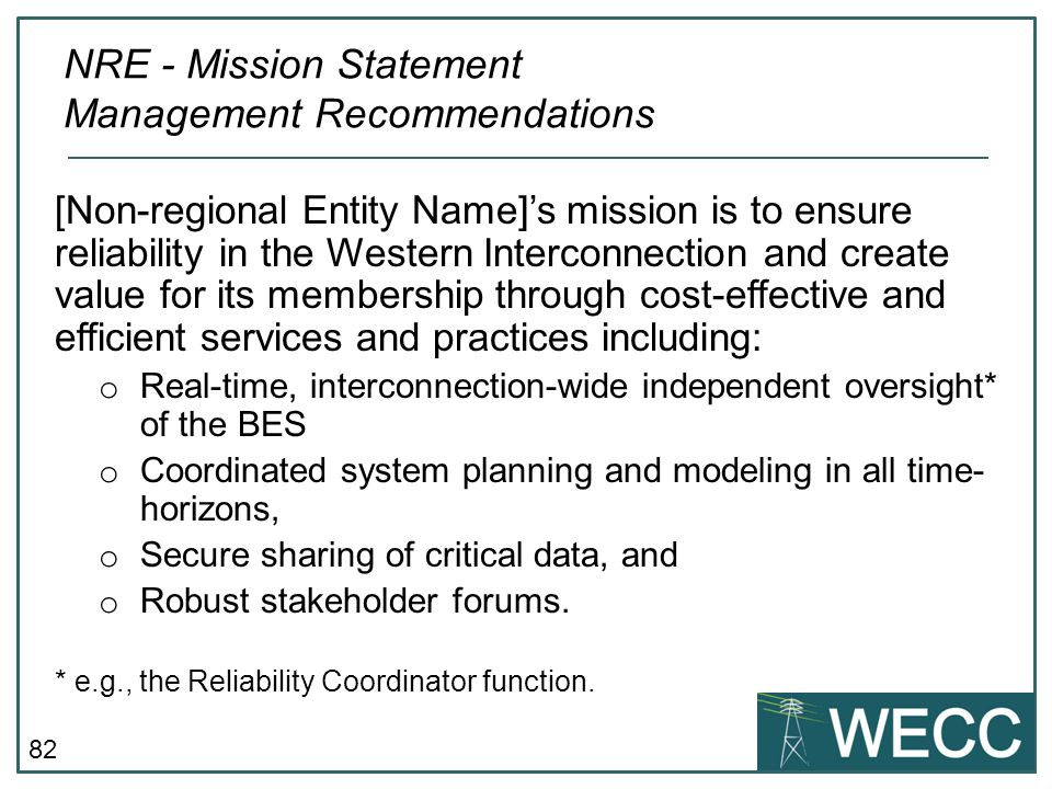NRE - Mission Statement Management Recommendations