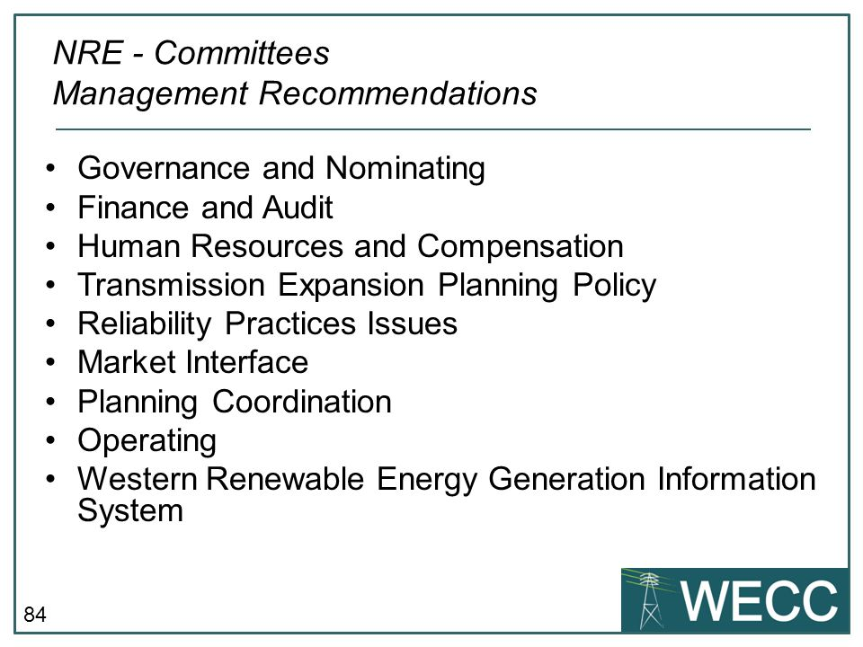 NRE - Committees Management Recommendations