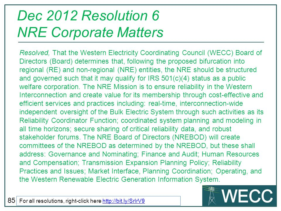 Dec 2012 Resolution 6 NRE Corporate Matters