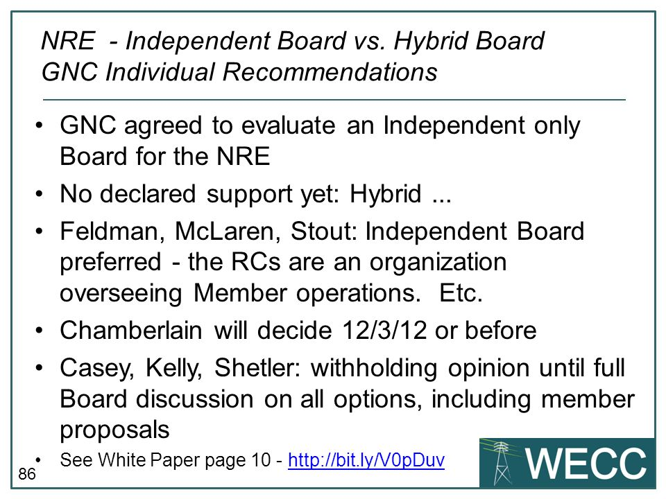 GNC agreed to evaluate an Independent only Board for the NRE