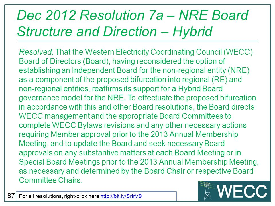 Dec 2012 Resolution 7a – NRE Board Structure and Direction – Hybrid